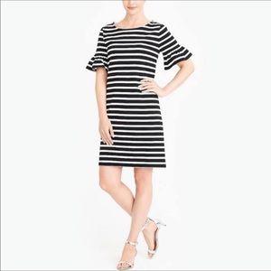 J. Crew Striped Ruffle Sleeve Dress Size Large